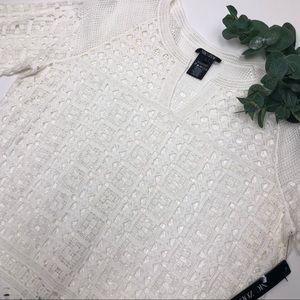 Nic + Zoe Free Spirit Lace Split Neck Tunic White